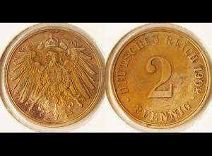 2 Pfennig Kaiserreich Empire 1908 J Jaeger 11 Erhaltung! (n629