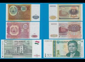 TADSCHIKISTAN - TAJIKISTAN 1, 100, 500 Rubels 1994/1999 (18255