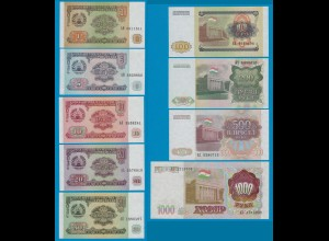 TADSCHIKISTAN - TAJIKISTAN 1 - 1000 Rubels 9 Stück 1994-9 (18256