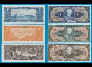 Brasilien - Brazil 1, 2, 5, Cruzados Banknoten 1954 (18262