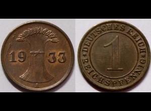 1 Reichspfennig 1933 A - D. Reich Jäger Nr. 313 Erhaltung (b399