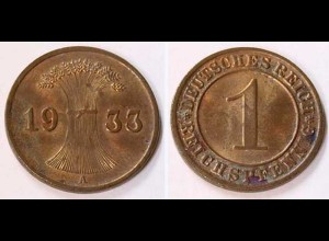1 Reichspfennig 1933 A - D. Reich Jäger Nr. 313 schöne Erhaltung (b400