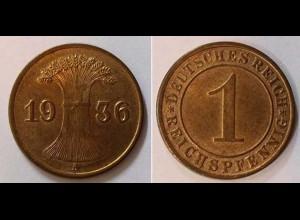 1 Reichspfennig 1936 A - D. Reich Jäger Nr. 313 Super Erhaltung (b403