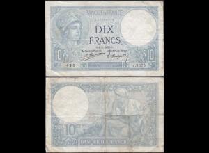 Frankreich - France 10 Francs Banknote 4-11-1922 VF Pick 73c (13091