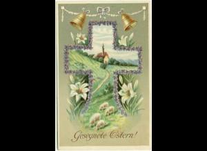 AK feine Prägekarte Ostern Glocken Schafe Kreuz (2697