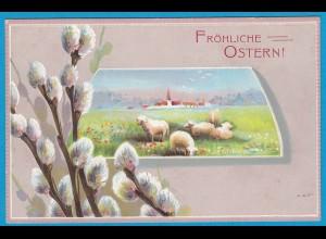 AK Prägekarte Ostern Schafe Weidenkätzchen (2704