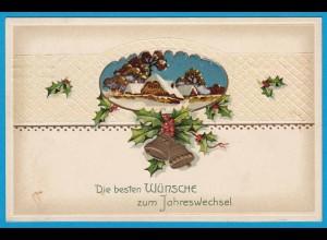 AK Prägekarte Neujahr Glocke Maschinenstempel (2734