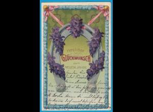 AK Prägekarte Neujahr Hufeisen Blumen 1905 Prägedruck (2757