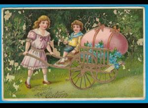 AK Gold Glanz Ostern Kinder Blumen (2759