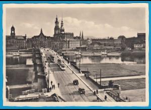 AK Dresden Brücke Straßenbahn Sachsen (1009