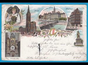 AK Litho Strassburg Schloss Elsässerin 1896 (1024