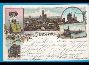 AK Litho Strassburg Kehler Brücke Elsass 1907 (1025